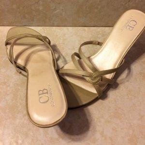 Ladies open toe shimmering beige heels NWOT/NWOB